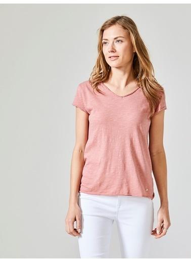 Xint V Yaka Tişört Pembe